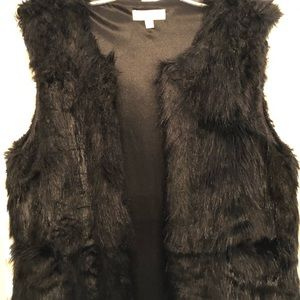 Black acrylic faux fur, long vest.  Size L